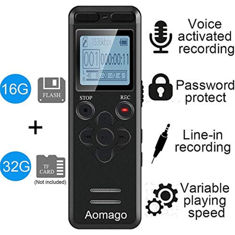 Digital Voice Recorder,Icnow 16GB 1536Kps Professional Mini USB Voice Recorder Mp3 Player Portable Auto Voice Activated Password Protection A-B Repeat Memory for Meetings Lectures Interviews.